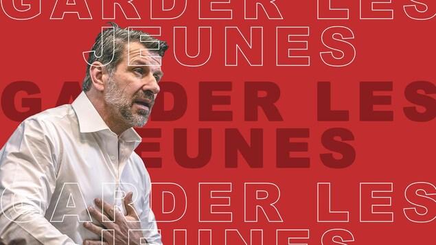 Marc Bergevin sur fond rouge avec libellé : garder les jeunes