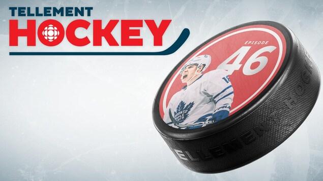Logo Tellement Hockey et Rondelle sur laquelle sont imprimés les numéros 46 et une photo de Mitch Marner