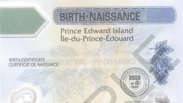 Photo d'un certificat de naissance.