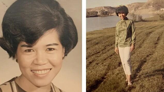 Deux photographies d'époques d'Aurora Dacanay.