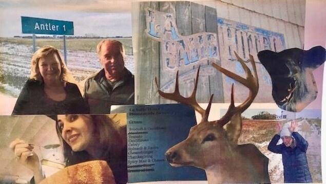 Collage fait par la Fureteuse du bar à Antler en Saskatchewan. Images d'un chevreuil, un ours, un menu, une enseigne, les propriétaires du retaurant