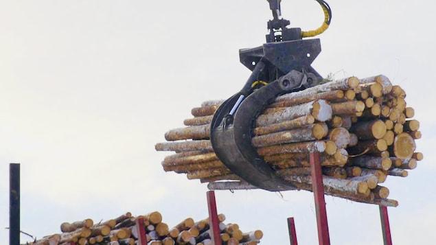 Un opérateur décharge un camion de bois.