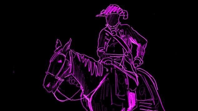 Un capitaine à cheval dessiné sur un fond noir.