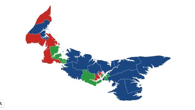 Carte représentant les circonscriptions gagnées par chaque parti