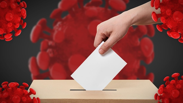 Montage d'un main qui dépose un bulletin de vote dans un boite entourée de gros virus.