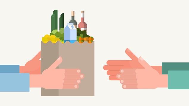 Illustration d'une personne qui tend un sac d'épicerie rempli à une autre personne.