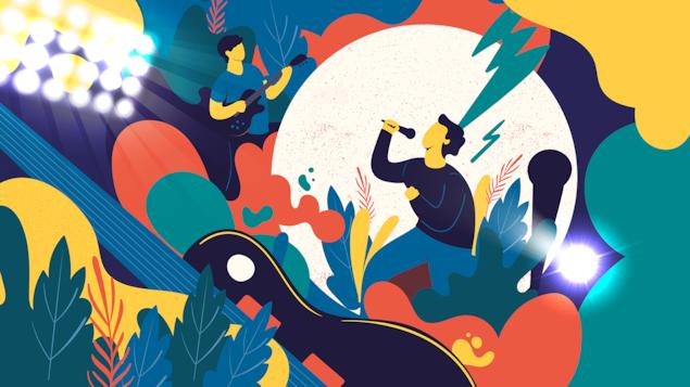 Illustration de musiciens entourés d'éléments colorés représentant des instruments de musiques et de festivals.