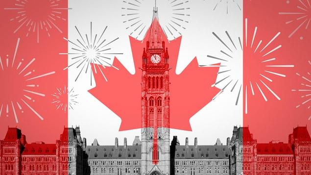 La bandera canadiense superpuesta a una foto del Parlamento de Ottawa.