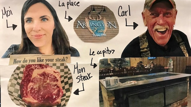Images en collage de la visite au restaurant. On voit un steak, un homme qui s'appelle Carl, la Fureteuse fransaskoise Nicole Lavergne-Smith.