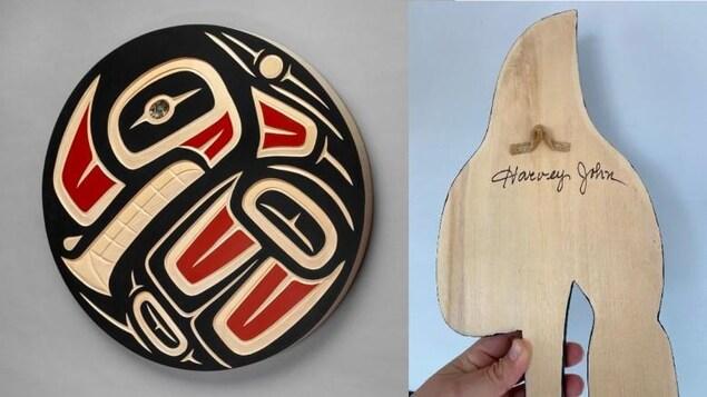 Une oeuvre sur bois et une autre vue de dos pour voir la signature de Harvey John.