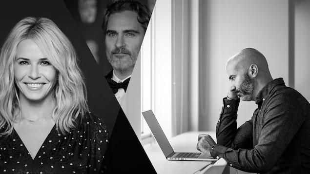 Gauche à droite: des images en noir et blanc de l'humoriste Chelsea Handler, Joaquin Phoenix et le journaliste Kevin Sweet.