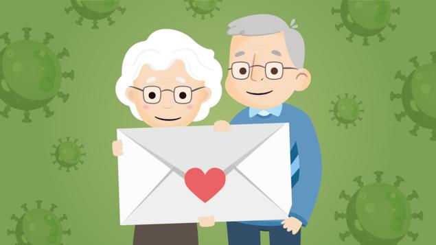 Une illustration d'un couple de grands-parents qui tiennent une enveloppe géante dans leurs mains devant un arrière-plan qui représente la COVID-19.