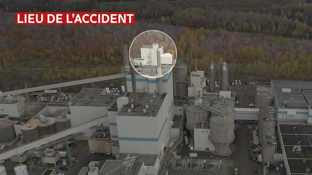La partie supérieure de l'usine Domtar, qui s'élève sur plusieurs étages, est encerclée.