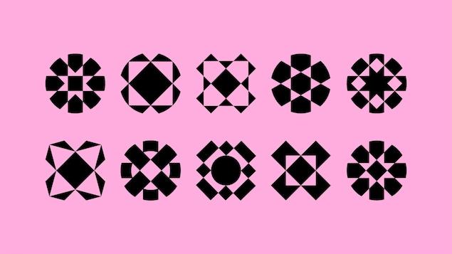La nouvelle identité visuelle du Musée des beaux-arts du Canada représentée par plusieurs formes géométriques en transformation.
