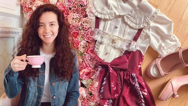 À gauche : une jeune fille souriante tenant une tasse devant unmur rempli de fleurs. À droite : une robe et des souliers.