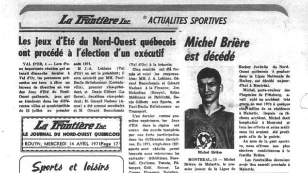 Un article du journal La Frontière relatant la mort du hockeyeur Michel Brière