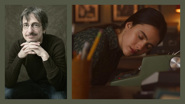 Collage d'un portrait de Philippe Falardeau et d'une scène de son film « Mon année Salinger ».