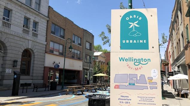 Une pancarte de l'oasis urbaine.