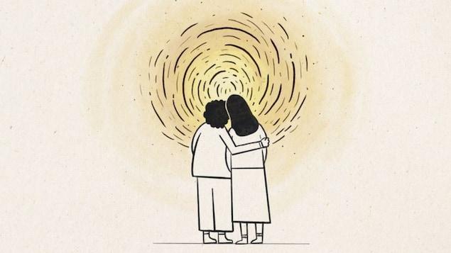 Deux personnes s'enlaçant sous un soleil