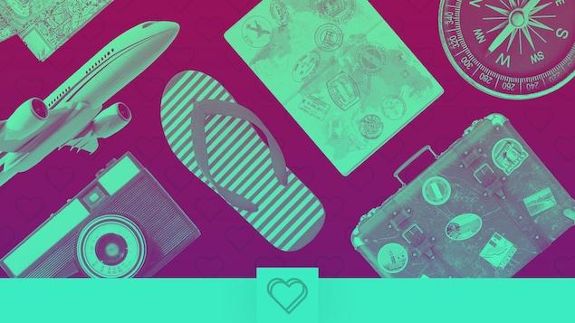 Plusieurs objets représentant le thème du voyage : Une carte, un avion, une caméra photo, une sandale, un passeport, une valise et une boussole.
