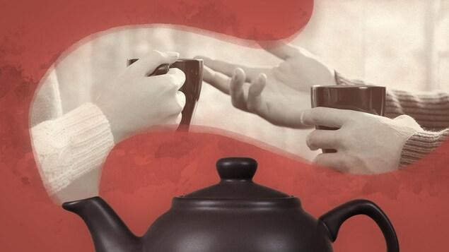 Une théière et deux paires de mains tenant chacune une tasse.