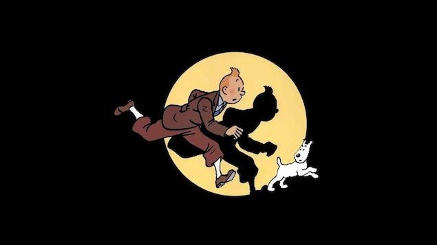 Tintin et Milou sont en train de courir.