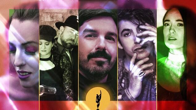 Montage photo des artiste Marie-Clo, Beauséjour, Damien Robitaille, Mehdi Cayenne et Rayannah.