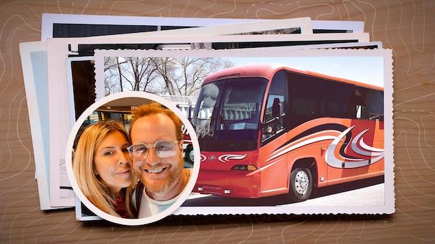 Montage photo de Jaja Plouffe, son conjoint Martin et d'un autobus.