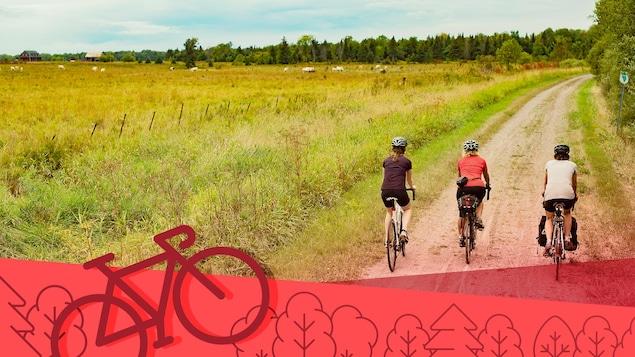 Trois femmes en vélo sur une piste au bord d'un champ.