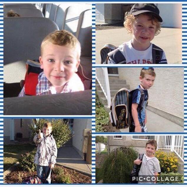 Un collage de photos de William Bear, élève de l'École Monseigneur de Laval à Regina