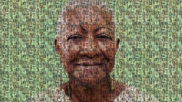 Une mosaïque de personnes en arrière plan et la photo d'une femme en avant plan