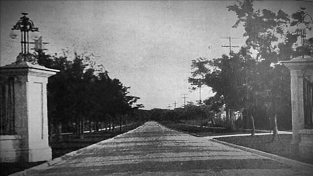 Une allée dans un quartier riche au début du 20e siècle.