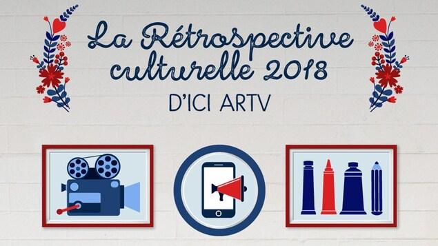 Infographie sur laquelle on peut lire : la rétrospective culturelle 2018 d'ICI ARTV.