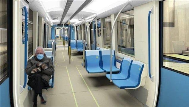 Montage visuel de Bernie Sanders assis dans le métro de la STM.