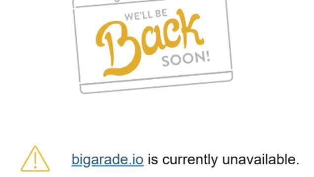 Le message d'erreur lié au site Internet Bigarade, capture d'écran du 5 octobre 2020.