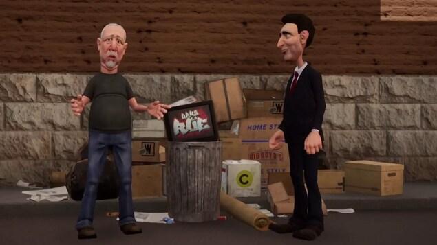 Les deux personnages en dessins animés sont dans une ruelle.