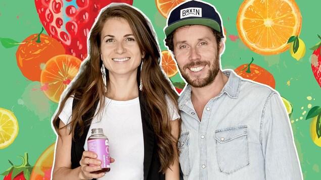 portrait du couple sur fond d'illustration de fruits colorés