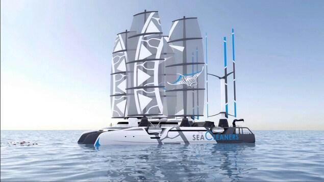 Illustration du navire-nettoyeur des mers, un style de catamaran à quatre voiles.