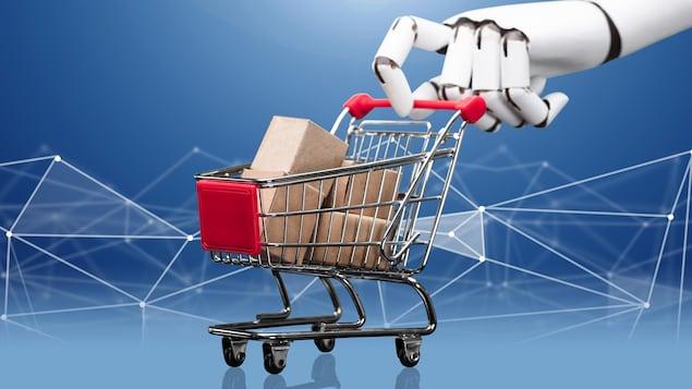 Une main robotique géante pousse un chariot d'épicerie.