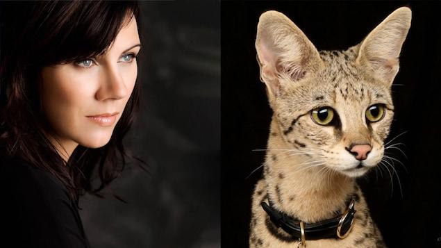 Geneviève est de profil. Le chat a les yeux entre vert et jaune.