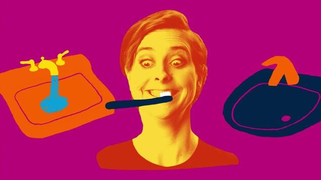 Une image colorée représente Ève Landry qui se brosse les dents à côté d'un robinet fermé et d'un autre qui coule.