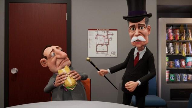 Il est déguisé avec un chapeau haut de forme et un monocle et il intimide un homme qui mange un sandwich.