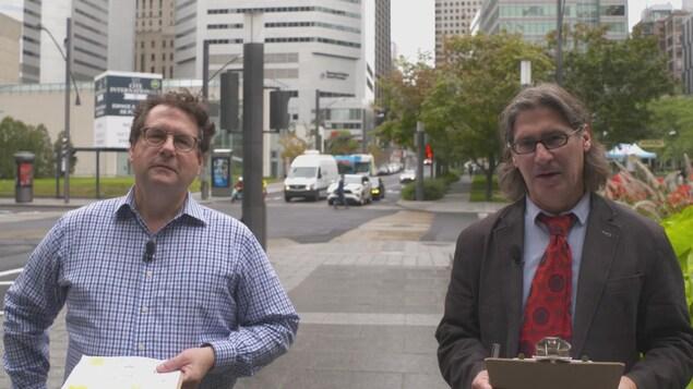 Bernard Drainville et Jean-René Dufort en ville.