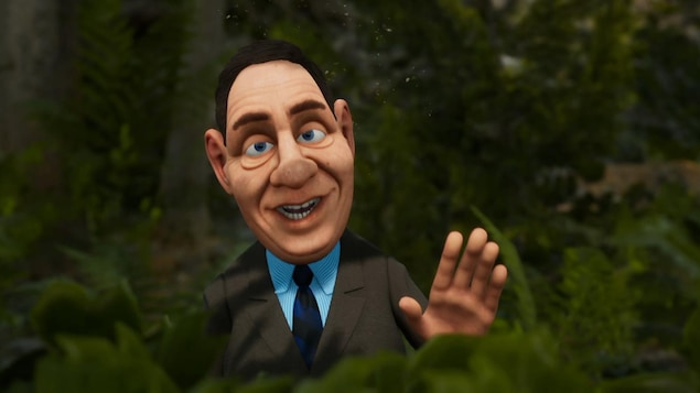 Le personnage est caché dans la forêt.