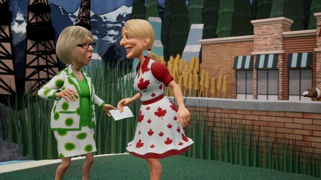 Elles sont devant un Tim Hortons dans une parodie d'émission pour enfants.