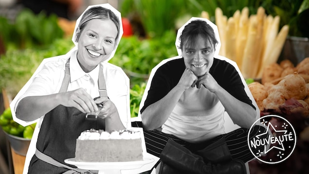 portrait des deux femmes en noir et blanc sur fond de légumes.
