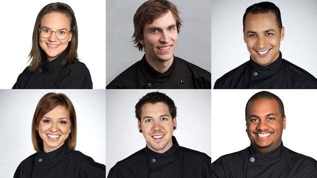 Un montage photo d'ancien candidats : Guillaume Cantin, Sébastien Laframboise,  Isabelle Deschamps-Plante, Hakim Chajar et Ann-Rika Martin et Sydney Gordon.