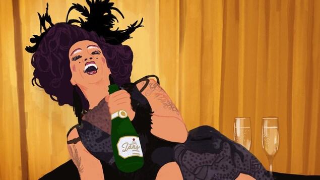 Illustration de Mado qui boit du champagne sur un piano