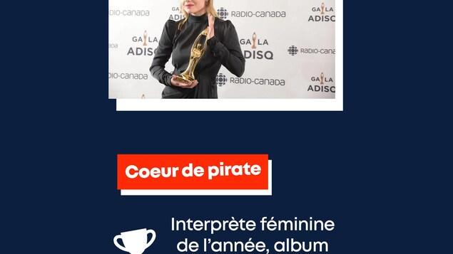 Coeur de pirate : interprète féminine de l'année, album pop de l'année.