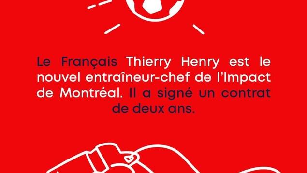 Le français Thierry Henry est le nouvel entraîneur-chef de l'impact de Montréal. Il a signé un contrat de deux ans.
